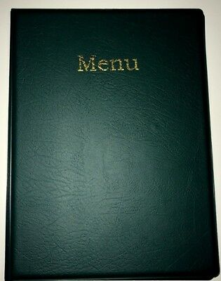 LIMITED -qty 20 A4 MENU HOLDER/COVER/FOLDER IN GREEN LEATHER LOOK PVC