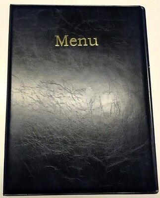 LIMITED -qty20 A4 MENU HOLDER/COVER/FOLDER IN BLUE LEATHER LOOK PVC