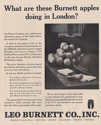 print ad leo burnett. Wonderful Burnett 1962 Leo Burnett Apples Doing In London Vintage Print Ad To Print Ad Leo Burnett E