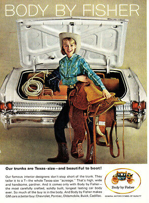 1964 Body by Fisher: Our Trunks are Texas Size Vintage Print Ad