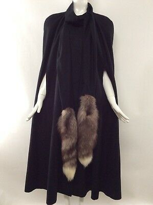 Vtg 80s Black Alorna  Long Cape One Size 100% Wool Fox Tail Fur Trim Fully Lined