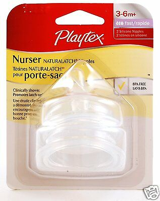 Playtex Naturalatch Nipples/Teats 2 Silicone Fast Flow (3-6 months +), BPA Free