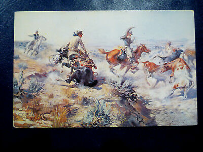 """Charles Russell Western Art - """"JERKED DOWN"""" - Horse & Cowboy"""