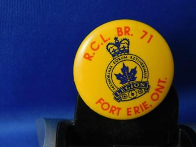 Royal Canadian Legion Branch 71 Erie Ontario Vintage  Button Collector Pin Back