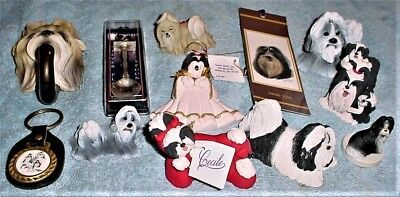 12 Shih Tzu Dog Figurines and Metal Collectibles, NEW