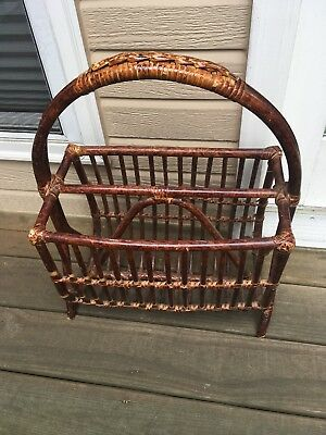 Vintage Rattan Bamboo Wicker Large Wooden Handle Magazine Holder Stand
