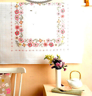 """MODERN FLORAL WREATH"" tablecloth KIT to CROSS STITCH.Stamped 80cm 100% cotton!"