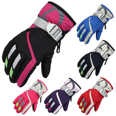 Kids Children Winter Gloves Boys Girls Ski Snowboard Skate Thermal Lined Fleece