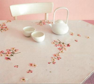 """APPLE BLOSSOM"" Quality tablecloth EMBROIDERY KIT.Stamped 95cm 100% cotton!"