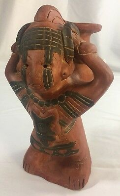 Pre Columbian Style Terra Cotta Water-Bearer Mayan Figure Aztec Mexico, Vintage