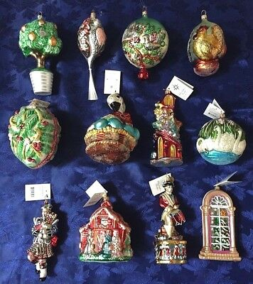 Twelve Days Of Christmas Ornaments.Rare Lot Of 12 Christopher Radko Twelve Days Of Christmas Ornaments