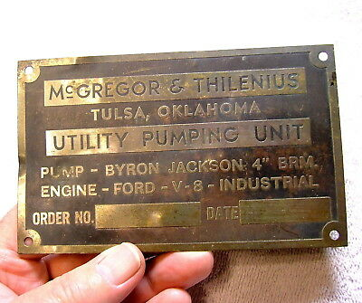 Brass Industrial Pumping Unit Nameplate Oil Industry Machine Age Steampunk 1930s