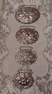 4 Vintage Sterling Silver 900 Ornate Floral Repousse Turkish Vanity Wall Mirror