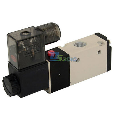 """1/4"""" Pneumatic 3 Way 2 Position Electric Inner Guide Solenoid Air Valve DC 24V"""