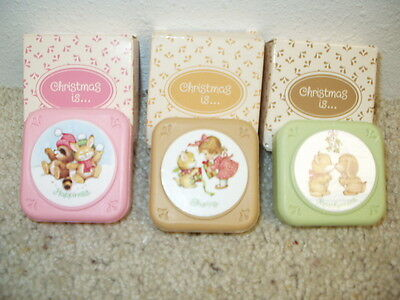 NIB 3 Avon Christmas Wishes Is Decal Soaps Mint Mistletoe Bayberry 2 oz.1983