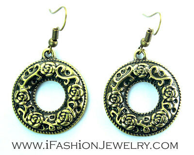 Round Rose Bronze Earrings 3D Brass Flower Filigree Ring Dangle Fashion Jewelry