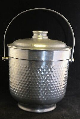 Vtg Retro Hammered Aluminum Ice Bucket Nasco Italy