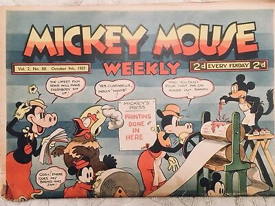 """British 1937 Disney Mickey Mouse Weekly """"Fun For The Whole Family"""" Vintage Cond"""