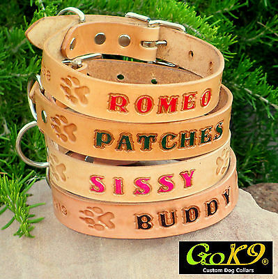 """1"""" Tan Real Leather Dog Collar, Personalized Pet Name, Optional Phone Number"""