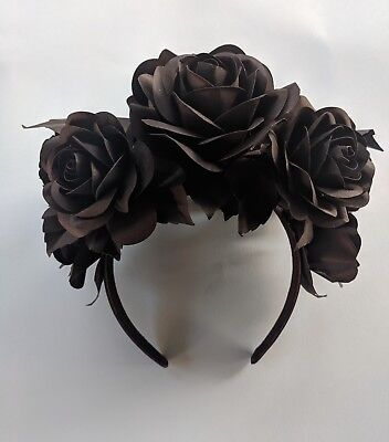 Hair circle, Black Roses, Handcrafted Paper, Accessory, Cechietto, Rose, Carta