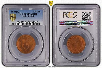 1941c India British 1/4 An PCGS GRADED - MS64RB - #647