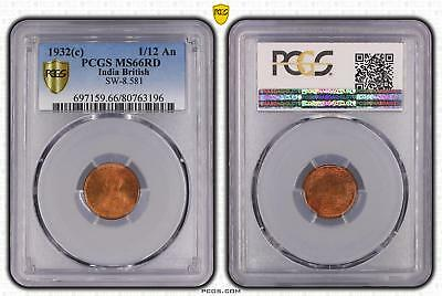 1932c India British 1/12 An PCGS GRADED - MS66RD - #196