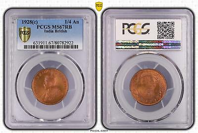 1928c India British 1/4 An PCGS GRADED - MS67RB - #922