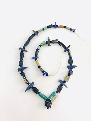 Aqua Green Roman Glass Beads ancient glass Necklaces  Accessory  Afghan Antique