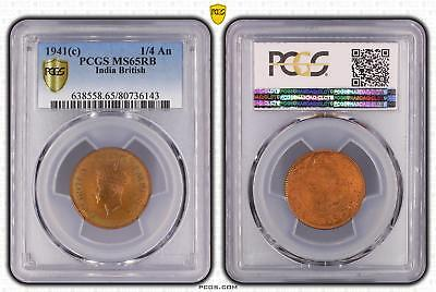 1941c India British 1/4 An PCGS GRADED - MS65RB - #143