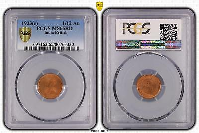 1933c India British 1/12 An PCGS GRADED - MS65RD - #330