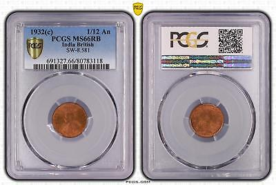 1932c India British 1/12 An PCGS GRADED - MS66RB - #118