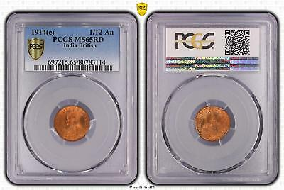 1914c India British 1/12 An PCGS GRADED - MS65RD - #114