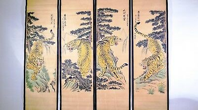 Chinese scrolls, set of 4 - TIGERS
