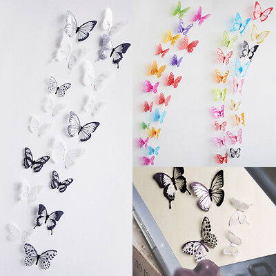 18pcs 3d Butterfly Wall Sticker Diy Pvc Colorful Home Wall