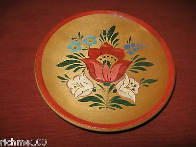 Vintage 80's Folk Art Floral Wooden Wood Hand Painted Slovenia Wall Plate