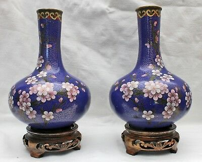 1 Pair Beautiful Cloisonne Vases Wooden Base Bronze Enameled China Approx. 1930