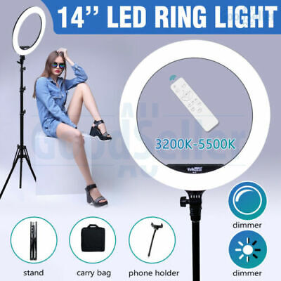 "19"" ES448 5500K Dimmable Diva LED Ring Light Diffuser Stand Make Up Photo Studio"