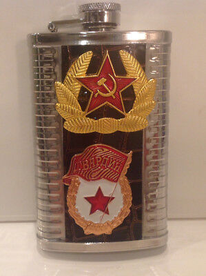 Russian Soviet USSR Metal Flask Military Stainless Steel Drinking Flask 8oz