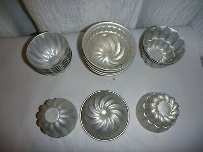 Vintage Aluminium ornate Molded baking tins cups MUFFIN