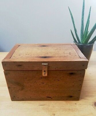 Rustic, Small, Reclaimed Pine Box Storage Box, Trunk, Chest with Brass hardware