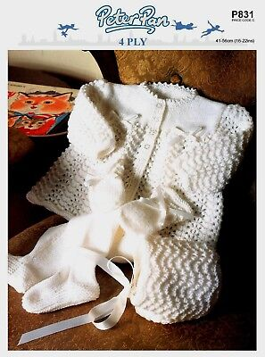 """PeterPan-P831  """"COPY""""  Baby Clothes Knitting Pattern  41-56 cm / 16-22""""  4 Ply"""