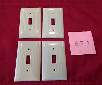 4 Vtg Bakelite Ivory Ribbed Sierra Single Gang Light Switch Plate Covers - BJ7