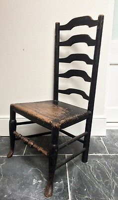 Victorian mid 19th century ladder backed wooden chair