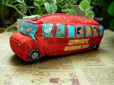 JPN Peanuts Snoopy Sch Bus In Red Pen Pouch / Bag FREE SHIPPING