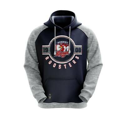Sydney Roosters NRL Mens Mid Winter Fleece Hoodie Top BNWT Rugby League Clothes