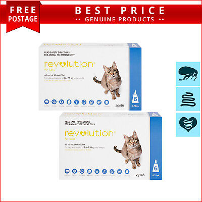 REVOLUTION 12 Doses for Cats 2.6 to 7.5 Kg BLUE Heartworm Flea Control
