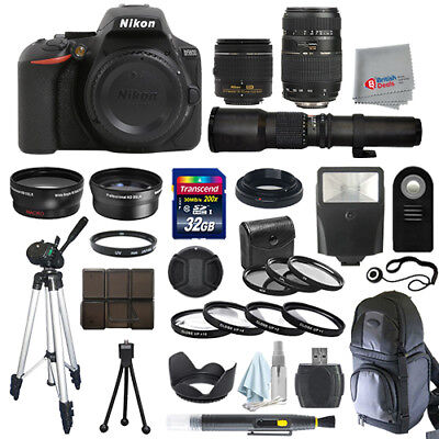 Nikon D5600 SLR Camera Body + 5 Lens Kit: 18-55mm VR + 70-300mm + 500mm and More