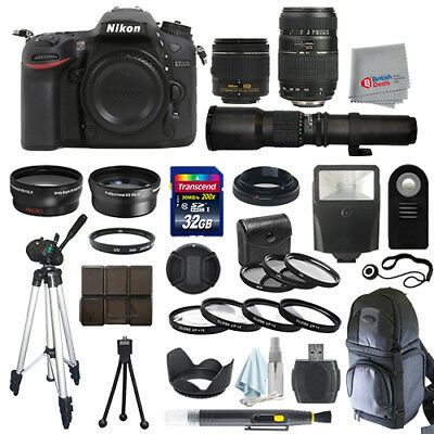 Nikon D7200 SLR Camera Body + 5 Lens Kit: 18-55mm VR + 70-300mm + 500mm and More