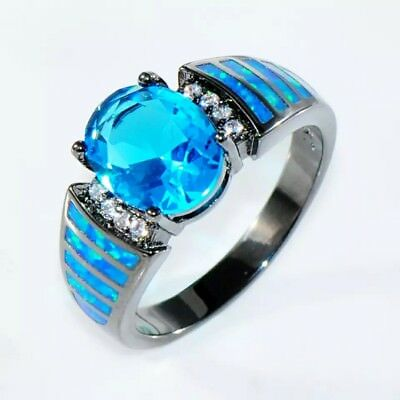 ~ Oval-cut Style Size 6-9 ~ Chrome Band ~ Blue Sapphire & Blue Opal Ring ~