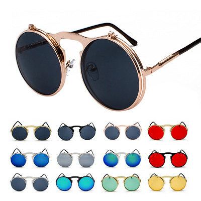 Vintage Retro Flip-up Sunglasses Men Women Metal Round John Lennon Style Glasses